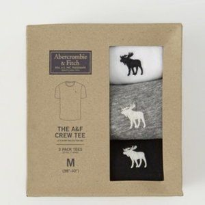 Abercombie and Fitch 3-PACK ICON CREW TEE ( M )